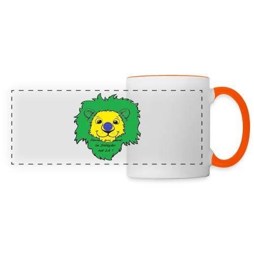 Lion supporter Brésil - Mug panoramique contrasté et blanc