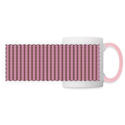Pink Pinstripe Striped Pattern Gold Pink Retro - Panoramic Mug
