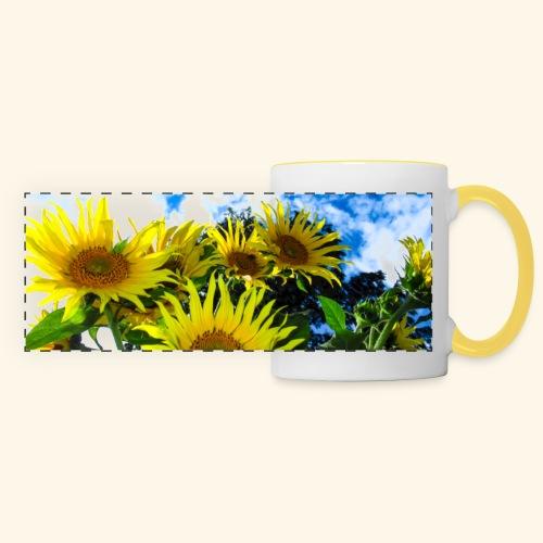 Sonnenblumen, blauer Himmel, Sonnenblume, Wolken - Panoramatasse