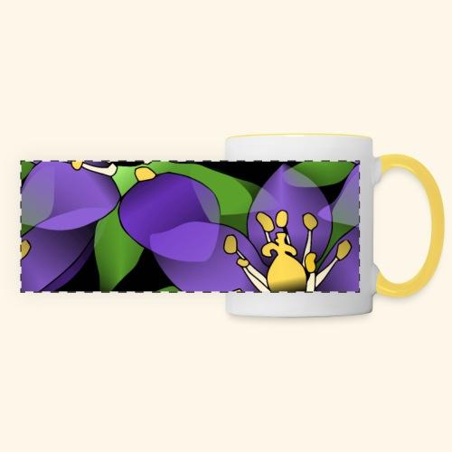 lila Blumen, violette Blüten, florales Muster - Panoramatasse