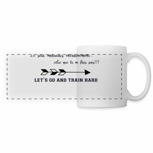 train hard - Mug panoramique contrasté et blanc