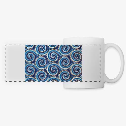 Spirales au motif bleu - Mug panoramique contrasté et blanc