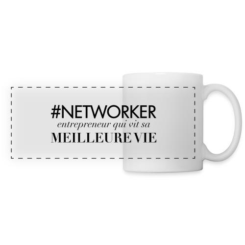 Networker, entrepreneur qui vit sa meilleure vie - Mug panoramique contrasté et blanc