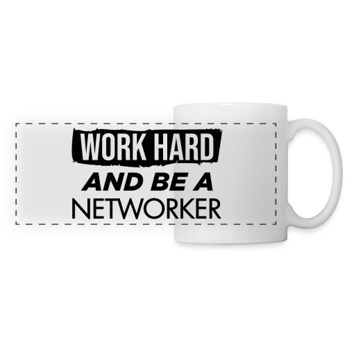 Work hard & be a networker ! - Mug panoramique contrasté et blanc