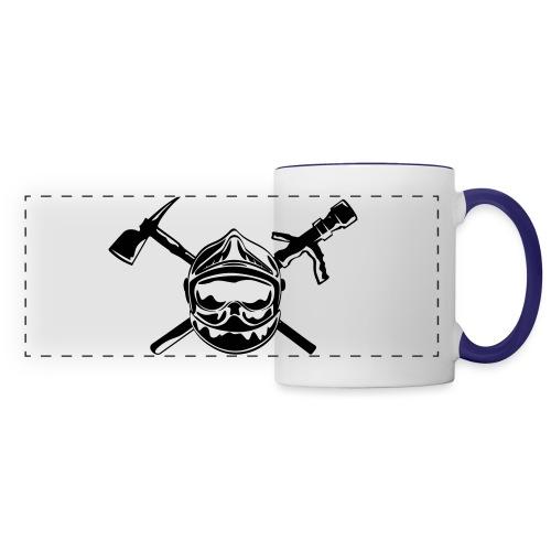 casque_pompier_hache et lance - Mug panoramique contrasté et blanc