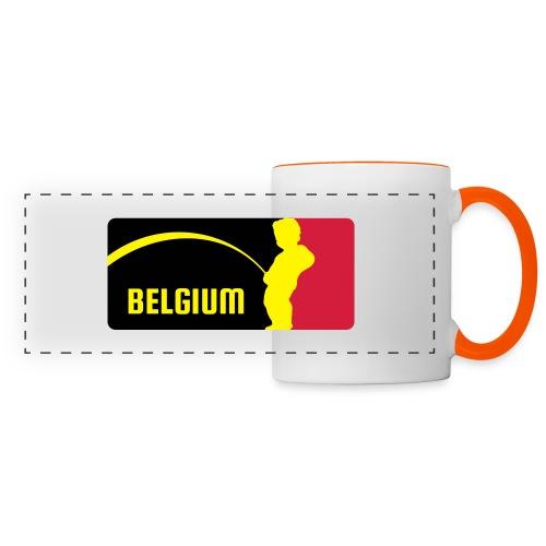 Mannekke Pis, Belgium Rode duivels - Belgium - Bel - Mug panoramique contrasté et blanc