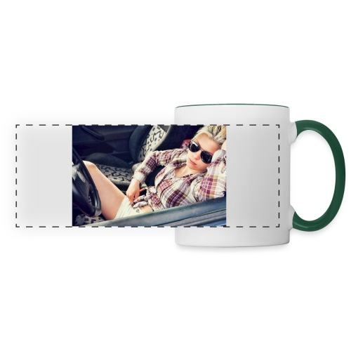Cool woman in car - Panoramic Mug