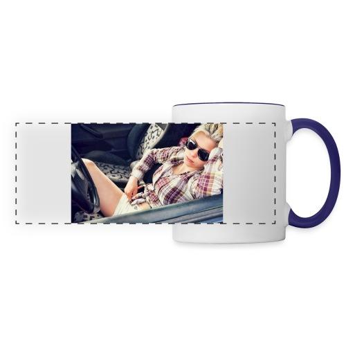 Cool woman in car - Panoramic Mug