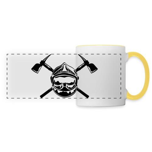 casque_pompier_2 haches - Mug panoramique contrasté et blanc
