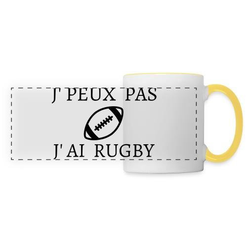J'peux pas J'ai rugby - Mug panoramique contrasté et blanc