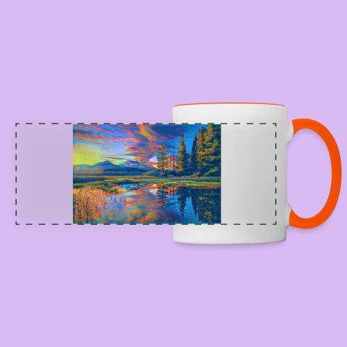 Paesaggio al tramonto con laghetto stilizzato - Tazza con vista