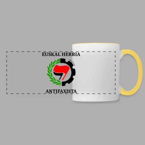 EH antifaxista pour fond clair - Mug panoramique contrasté et blanc