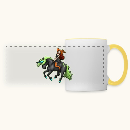 Monter une sorcière sexy sur une licorne. - Mug panoramique contrasté et blanc