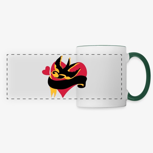 retro tattoo bird with heart - Panoramic Mug