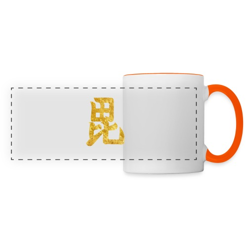 Uesugi Mon Japanese samurai clan in gold - Panoramic Mug