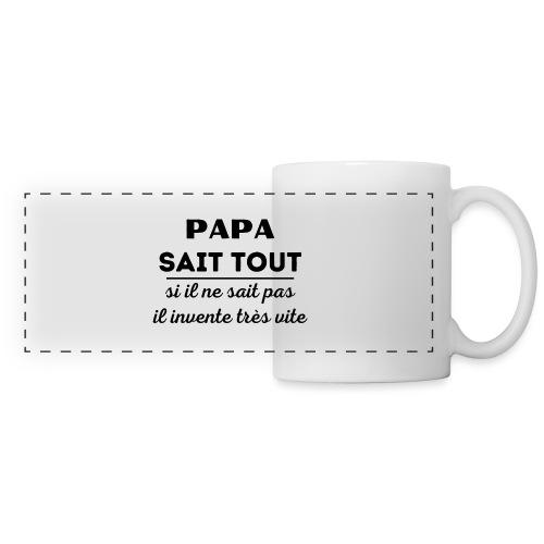 t-shirt papa sait tout il invente très vite - Mug panoramique contrasté et blanc