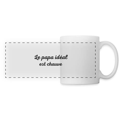 t-shirt fete des pères le papa idéal est chauve - Mug panoramique contrasté et blanc