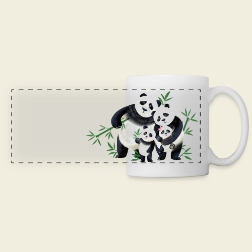 Pandafamilie zwei Kinder - Panoramatasse