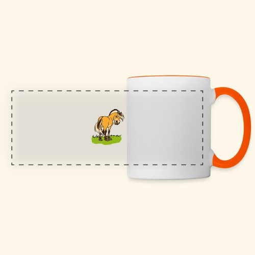 Freundliches Fjordpferd (Ohne Text) Weisse Umrisse - Mug panoramique contrasté et blanc