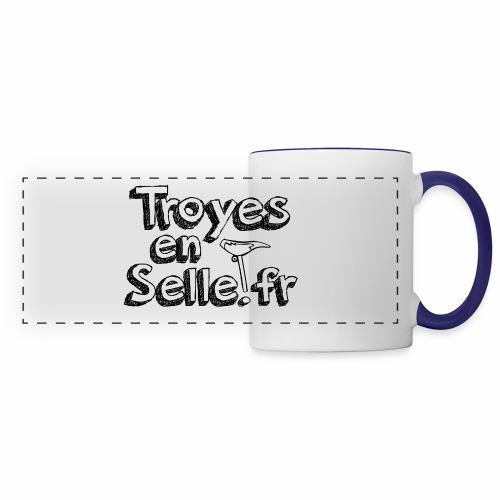 logo Troyes en Selle noir - Mug panoramique contrasté et blanc