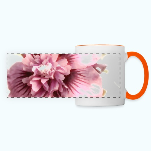 Pink flower watercolor minimalism - Panoramic Mug