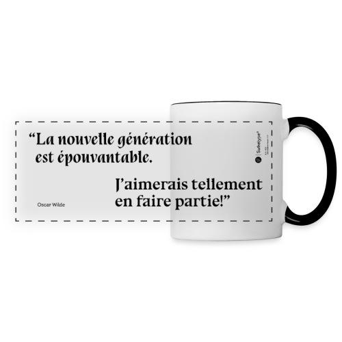 Citation sur la nouvelle génération - Oscar Wilde - Mug panoramique contrasté et blanc