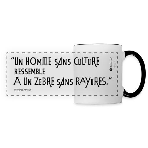 Proverbe africain sur la culture - Mug panoramique contrasté et blanc