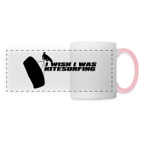I Wish I Was Kitesurfing - Black - Panoramic Mug white/pink