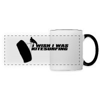 I Wish I Was Kitesurfing - Black - Panoramic Mug - white/black