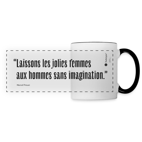 Citations et proverbes - Marcel Proust - Mug panoramique contrasté et blanc