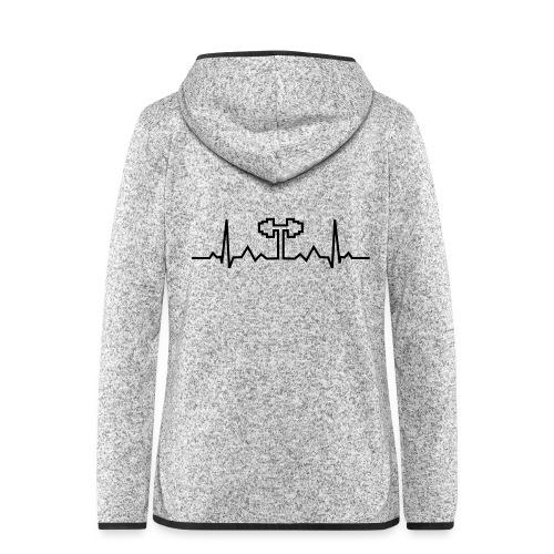 Herzschlag-Hantel, Bodybuilding, Crossfit, Fitness - Frauen Kapuzen-Fleecejacke