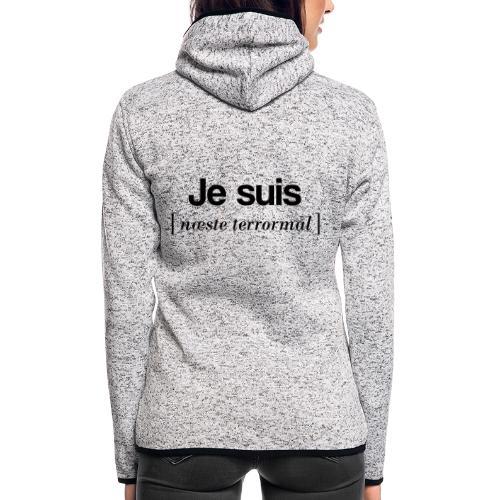 Je suis (sort skrift) - Dame hætte-fleecejakke
