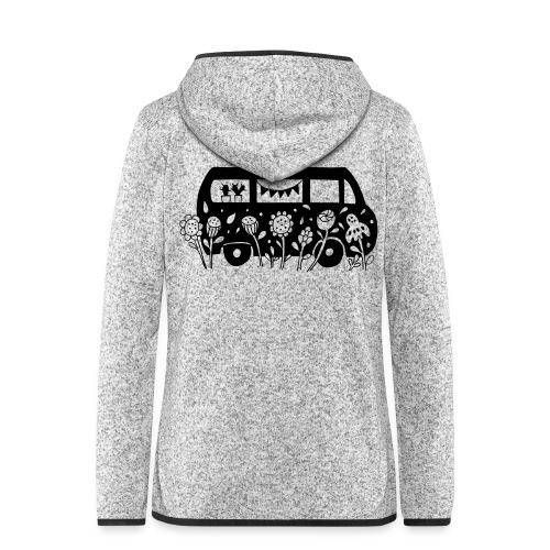 Flower Power Bus Liebe Florale Illustration - Frauen Kapuzen-Fleecejacke