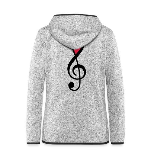 Notenschlüssel Herz rot Musik - Frauen Kapuzen-Fleecejacke