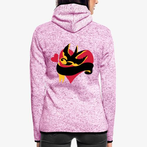 retro tattoo bird with heart - Women's Hooded Fleece Jacket