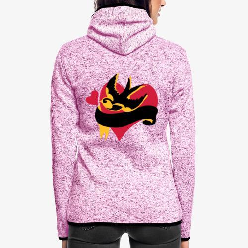retro tattoo bird with heart - Women's Hooded Fleece Jacket