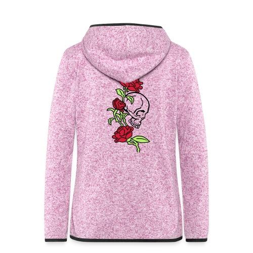 teschio e rose es123_2 - Giacca di pile con cappuccio da donna