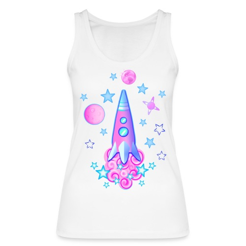 pink space rocket with stars and planets - Women's Organic Tank Top by Stanley & Stella