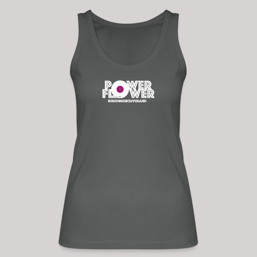 Logo PowerFlower bianco e fuxia - Top ecologico da donna di Stanley & Stella