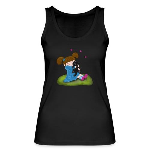 Katzenliebe - Mädchen knuddelt ihre schwarze Katze - Frauen Bio Tank Top von Stanley & Stella