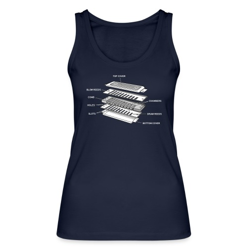Exploded harmonica - white text - Women's Organic Tank Top by Stanley & Stella