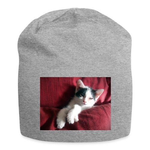 Katze in rot - Jersey-Beanie