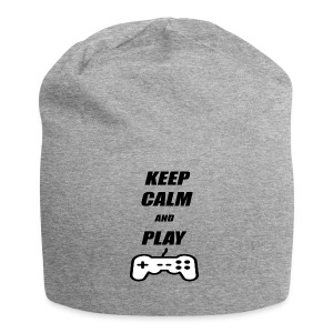 Maglietta Keep Calm And Play bianca. - Beanie in jersey