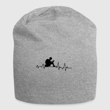 Heartbeat lesen T-Shirt Geschenk Bücherwurm Buch - Jersey-Beanie