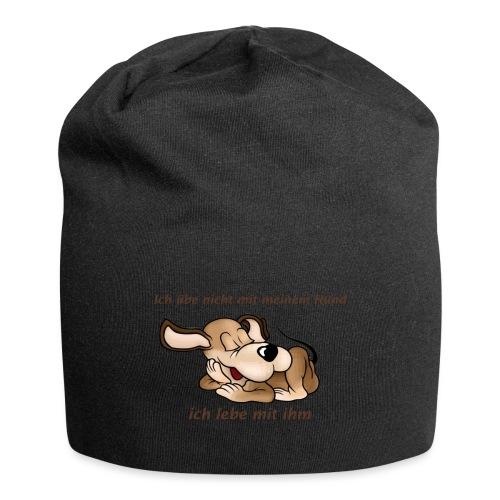 ich lebe mit meinem Hund - Jersey-Beanie