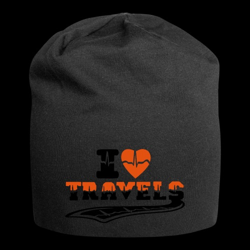 i love travels surprises 2 col - Jersey Beanie