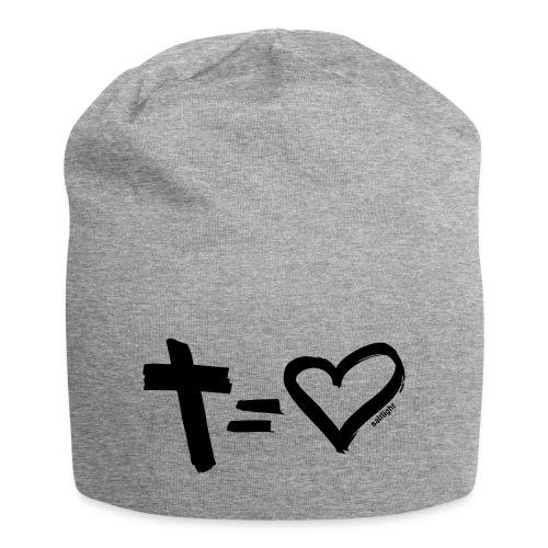Cross = Heart BLACK // Cross = Love BLACK - Jersey Beanie