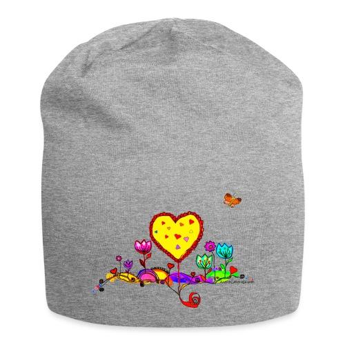 Blumengruß mit Herz - Jersey-Beanie