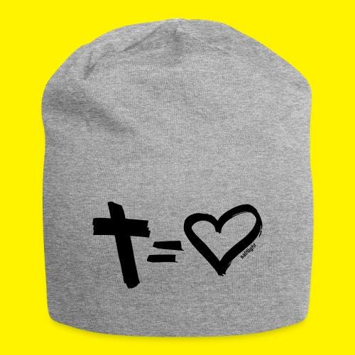 Cross = Heart BLACK - Jersey Beanie