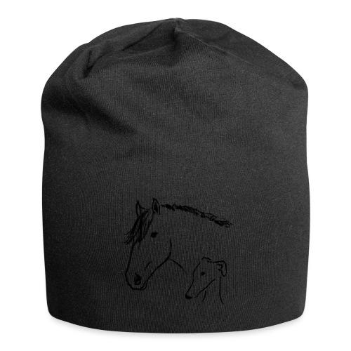 Windhund und Pferd - Jersey-Beanie
